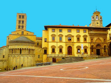 noteworthy: Arezzo, Italy, 13 march 2016.The Piazza Grande is the most noteworthy medieval square in Arezzo, Tuscany.Once the main marketplace of the city, it is currently the site of the Giostra del Saracino ( Joust of the Saracen).