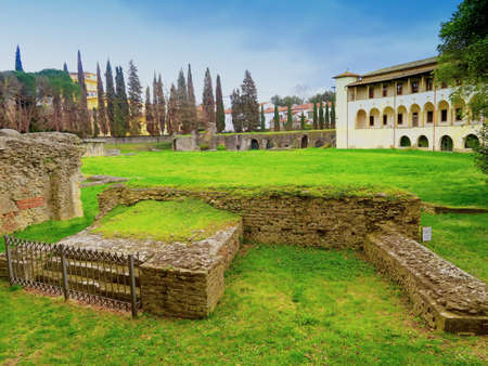 roman amphitheater: Arezzo,Italy,13 march 2016.View of the Roman amphitheater ruins of Arezzo, Tuscany, built between the first and second centuries d.c