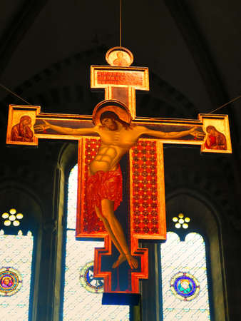 attributed: Arezzo,Italy,13 march 2016.The Crucifix of San Domenico in Arezzo is a shaped cross and painted in tempera and gold on wood by Cimabue, dating from around 1268-1271 and preserved in the church of San Domenico in Arezzo. First work attributed to the great  Editorial