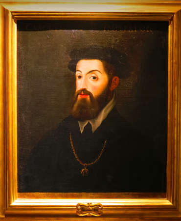 frequent: Genova,Italy,10 april 2016. Painting of Emperor Charles V of anonymous painter. It is located in the palace of the Prince in Genoa. The Emperor was a frequent guest in Genoa by the Doria family.