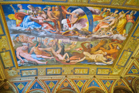 sumptuous: Genova,Italy,10 april 2016.Fresco in the hall of Fall of the Giants, in the Prince Palace in Genoa. The main room of apartaments of Andrea Doria - was the site of maximum ceremonial significance of the building, headquarters of parties and sumptuous banq