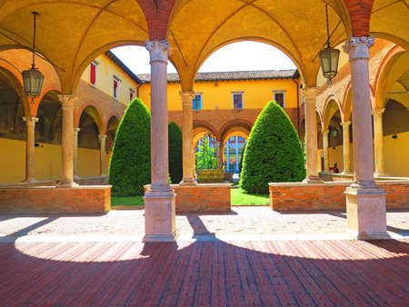 abbazia: Forli,Italy,22 may 2016.view of the cloister of the abbey of San Mercuriale.It is an abbey in Piazza Aurelio Saffi in Forlis center. It is the most famous building in the city and one of the symbols of the whole Emilia-Romagna. It was built in the twelft Editorial
