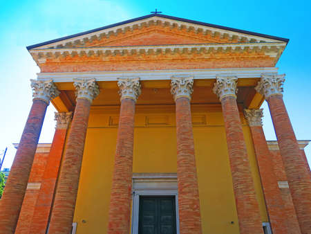 pediment: Forli,Italy,22 may 2016.Imposing neoclassical portico (nineteenth century), with a pediment supported by Corinthian columns. It is located in the Cathedral of Forli, Italy.