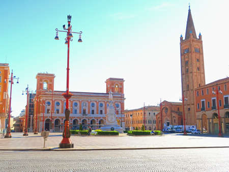 architectural architectonic: Forli,Italy,22 may 2016.Piazza Saffi is the central square in Forli, Emilia Romagna. On the right is visible the basilica of San Mercuriale (12th century).