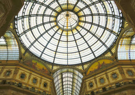 vittorio emanuele: Milan, Italy, 19 june 2016. The Gallery Vittorio Emanuele II in Milan is a shopping arcade, in the form of covered pedestrian street connects Piazza Duomo to Piazza della Scala. It was built and Inaugurated in 1867 in neo-Renaissance style. Editorial