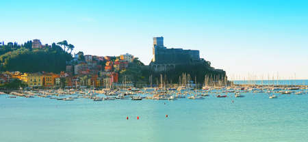 View of the port, the castle and the center of Lerici, Liguria, Italy Editorial