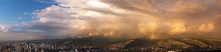 overlook: Honolulu overlook from Diamond Head Stock Photo