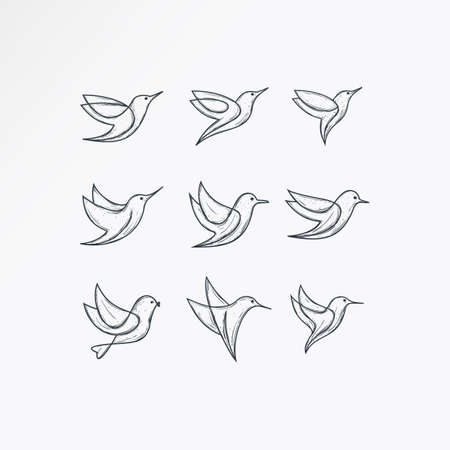 set bird logo with a simple and elegant line art concept.