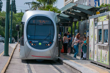 Athens, Greece 17 April 2017: passengers alighting the modern trams in Athens, Greece.