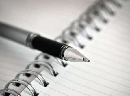 Writing Pen and Spiral Bound Notebook / Notepad Paper Stock Photo - 3517085
