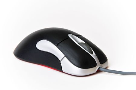 Black and Silver Wired Optical Computer Mouse on White Background Isolated Imagens