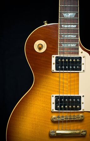 Classic Electric Guitar with Tobacco Honey Sunburst Finish, pickup, frets, and pick guard with room for text