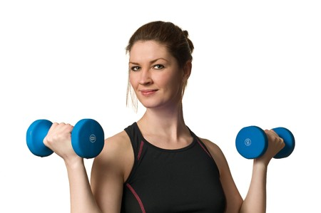 Beautiful Fitness Woman Exercising w Weightlifting Dumbell hand weights isolated on white background