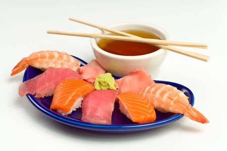 raw fish: Asian Raw Fish Sushi Dinner w Shrimp, Tuna, Salmon, including rice, ginger, wasabi and soup