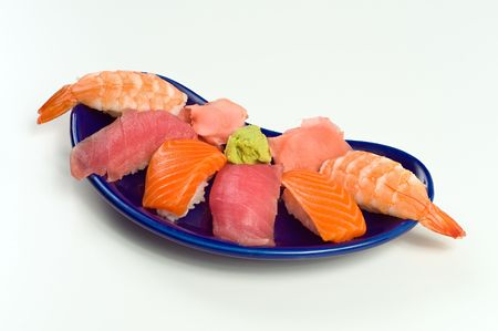 Asian Raw Fish Sushi Dinner w/ Shrimp, Tuna, Salmon, including rice, ginger, and wasabi