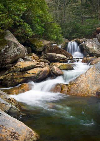 flowing water: Motion Blur Waterfalls Nature Landscape in Blue Ridge Mountains with green trees, rusty natural orange rocks and flowing water Stock Photo