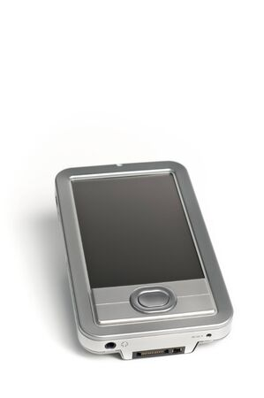 Silver Electronics PDA isolated on solid white background with room for ad copy text
