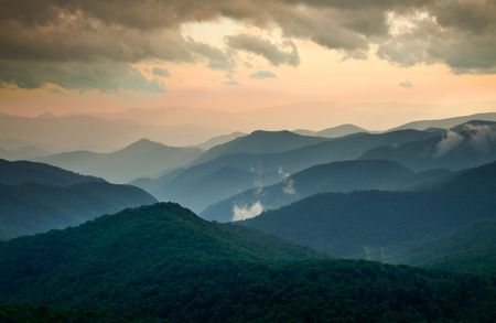 Blue Ridge Parkway Scenic Summer Sunset Landscape w/ layers of blue mountains
