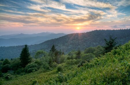 Mountains Summer Sunset Landscape on Blue Ridge Parkway Evening Stock Photo - 7423554