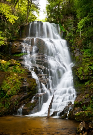 Blue Ridge Mountains Soothing Waterfall Landscape in Western North Carolina NC forest Stock Photo - 9855636