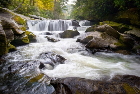 Wild Chattooga River Headwaters Geology Western NC Flowing Waterfall Nature near Highlands, North Carolina Blue Ridge Mountains