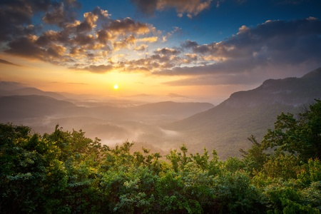 dramatic sky: Sunrise Blue Ridge Mountains Scenic Overlook Nantahala Forest Highlands NC in southern Appalachians Spring