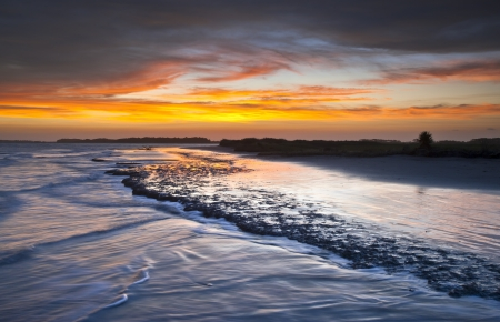 Folly Beach Ocean Sunset Charleston SC Landscape seascape scene in South Carolina photo