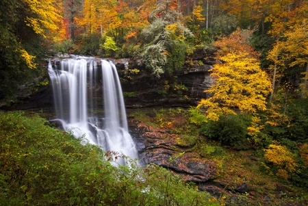 highlands: Dry Falls Autumn Waterfalls Highlands NC Forest Fall Foliage in Cullasaja Gorge Blue Ridge Mountains