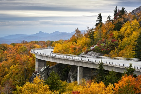 Blue Ridge Parkway Autumn Linn Cove Viaduct Fall Foliage Mountains bridge at Grandfather Mountain Western North Carolina photo