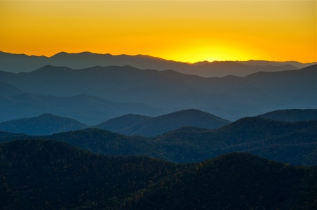 Blue Ridge Parkway Mountains Ridges Layers Sunset Appalachian Scenic Landscape in Western North Carolina Stock Photo