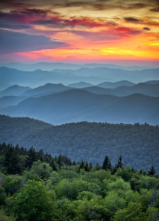 tennessee: Blue Ridge Parkway Scenic Landscape Appalachian Mountains Ridges Sunset Layers over Great Smoky Mountains National Park Stock Photo