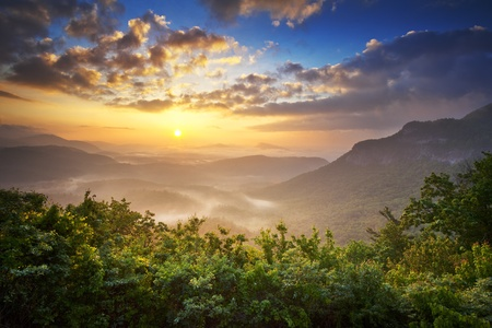 Sunrise Blue Ridge Mountains Scenic Overlook Nantahala Forest Highlands NC in southern Appalachians Spring photo