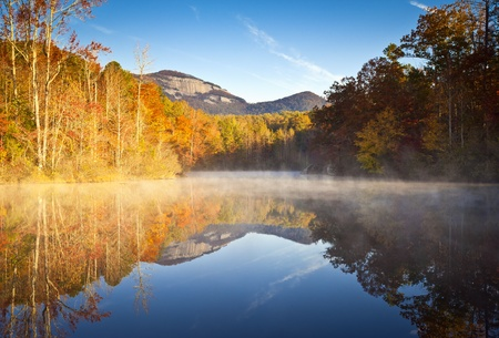 morning blue hour: South Carolina Autumn Sunrise Landscape Table Rock Fall Foliage Reflections fog covered lake