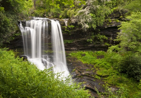nc: Dry Falls Highlands NC Waterfalls Nature Landscape Western North Carolina Blue Ridge Mountains natural outdoors scenery Stock Photo