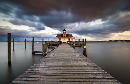 Roanoke Marshes Lighthouse Manteo North Carolina Harbor Outer Banks NC Coastal Historic Island Editorial