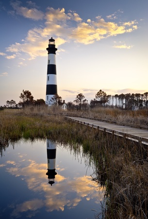 Bodie Island Lighthouse Cape Hatteras National Seashore Outer Banks NC Reflection OBX North Carolina