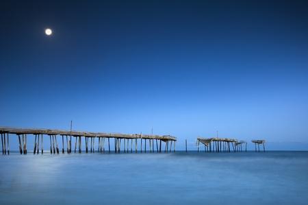 Cape Hatteras National Seashore NC Moonlight Ocean Pier Outer Banks North Carolina