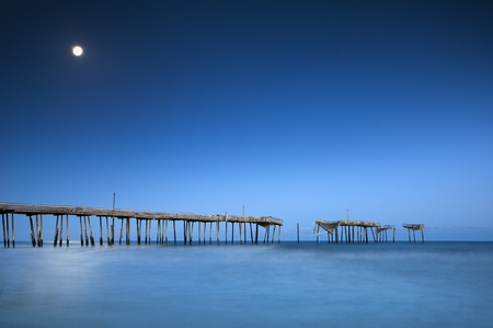 condemned: Cape Hatteras National Seashore NC Moonlight Ocean Pier Outer Banks North Carolina