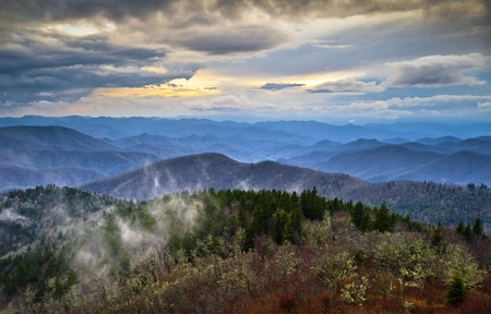 Blue Ridge Parkway Southern Appalachians Smoky Mountains Scenic NC Landscape Vacation Destination North Carolina Stock Photo - 12997005
