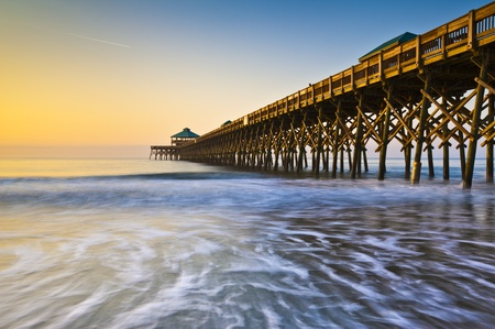 in charleston: Folly Beach Pier Charleston SC Coast Atlantic Ocean Pastel Sunrise vacation destination scenics