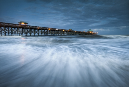 Moonlight Folly Beach Pier Charleston SC East Coast Atlantic Ocean landscape scenic photography and vacation destination photo