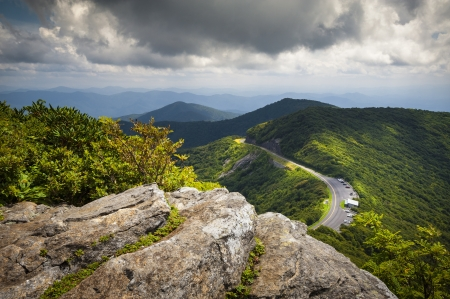 vista: Blue Ridge Parkway Craggy Gardens Scenic Mountains Landscape Photography near Asheville NC in the Blue Ridge Mountains of Western North Carolina