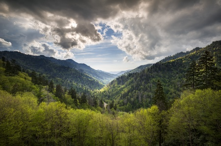 Great Smoky Mountains National Park Mortons Overlook Scenic Landscape Gatlinburg TN with spring greens and dramatic sky Stock Photo - 15352433