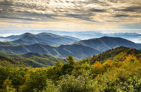 Blue Ridge Parkway National Park Sunrise Scenic Mountains Autumn Landscape near Asheville NC in western North Carolina photo
