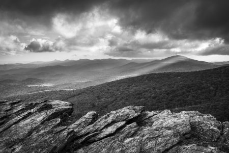 Blue Ridge Parkway Grandfather Mountain Rough Ridge Scenic Landscape Overlook in black and white Stock Photo - 17247447