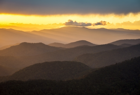 Blue Ridge Parkway Sunset Southern Appalachian Mountains Scenic Nature Landscape and national park vacation travel destination