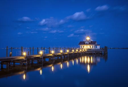 Roanoke Marshes Lighthouse Manteo NC Outer Banks North Carolina dock in Albemarle Sound Stock Photo