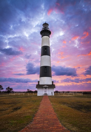 nc: Bodie Island Lighthouse Cape Hatteras National Seashore Outer Banks NC blue and pink sunrise in Nags Head North Carolina