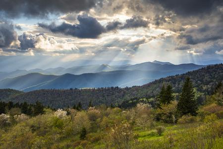 appalachian mountains: Blue Ridge Parkway Landscape North Carolina Appalachian Mountains evening sunset
