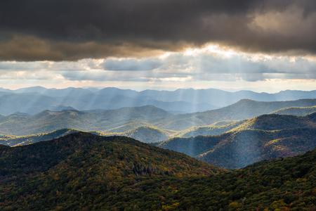 Appalachian Mountain landscape in Western North Carolina Blue Ridge Parkway autumn outdoor scenic photography Stock Photo